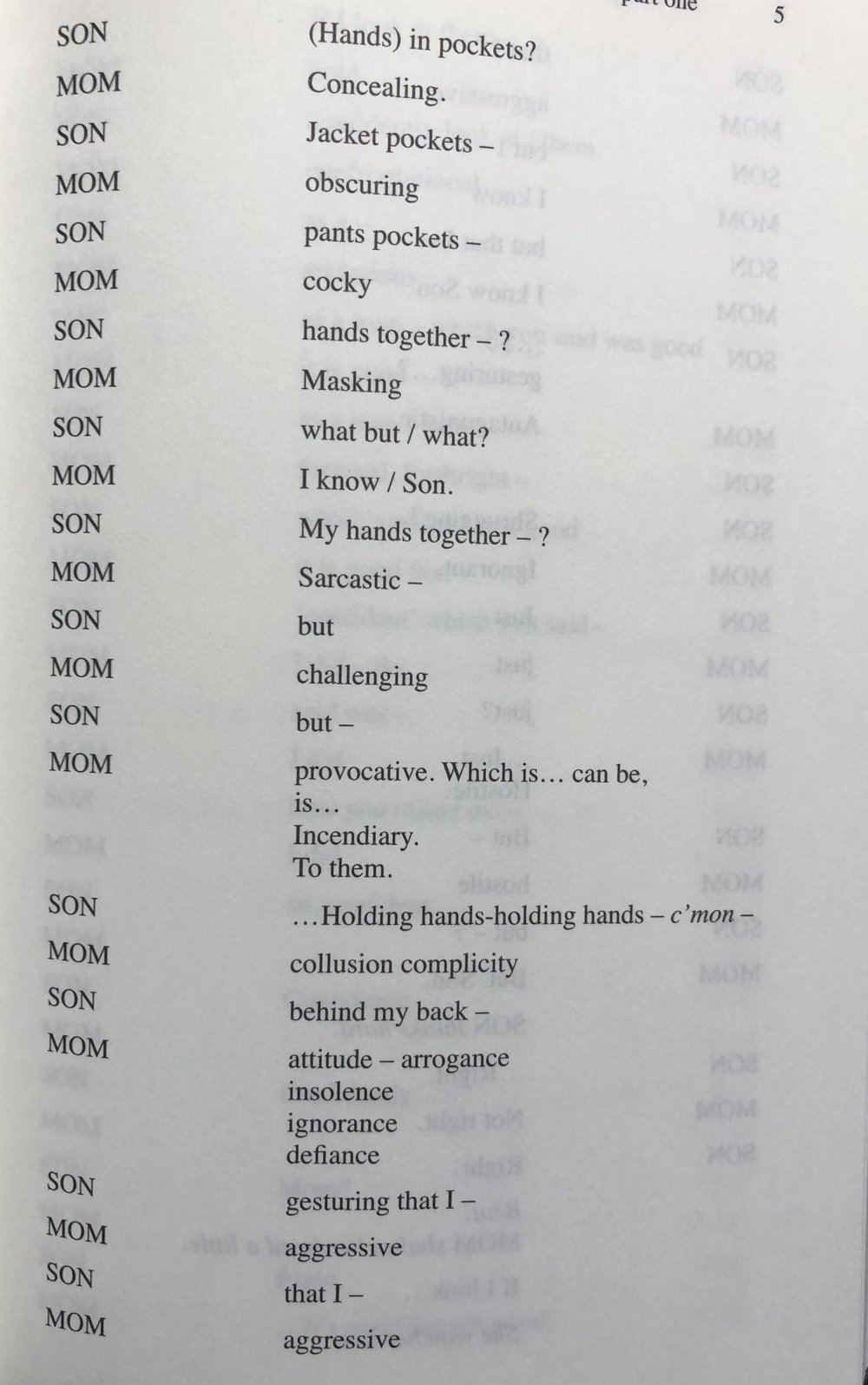 Extract from ear for eye play text, note capital letters, punctutation and form. Words in ( ) are intentions not spoken.