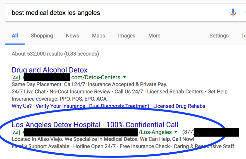 A typical Adwords ad, before the ban