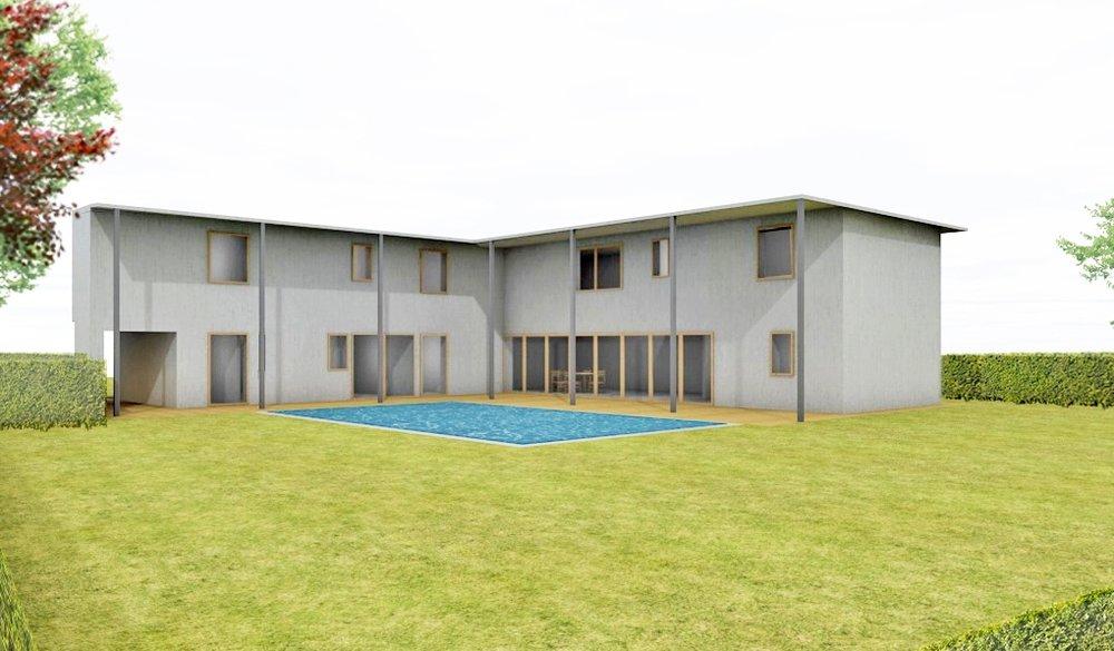 Villa con piscina a due piani