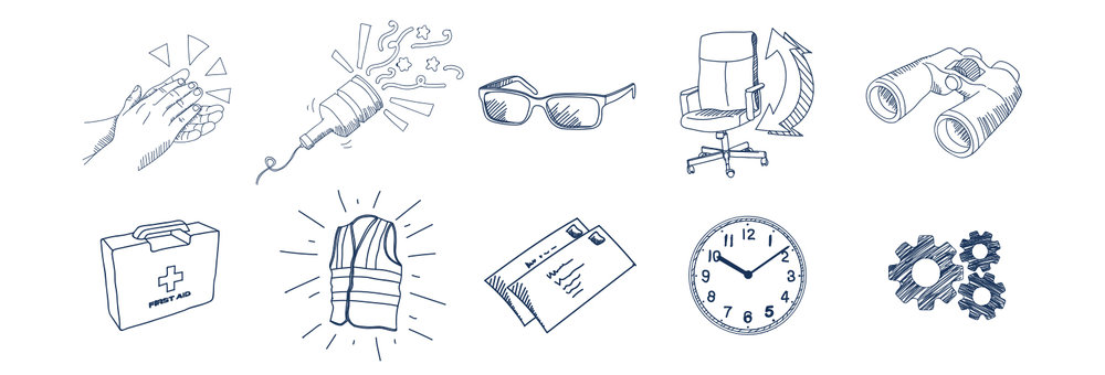 A sample of the icon set created for the website. The complete set contains 70+ bespoke icons