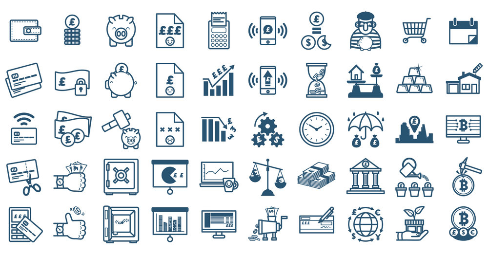 This is a 50 piece icon set based around finance and banking.