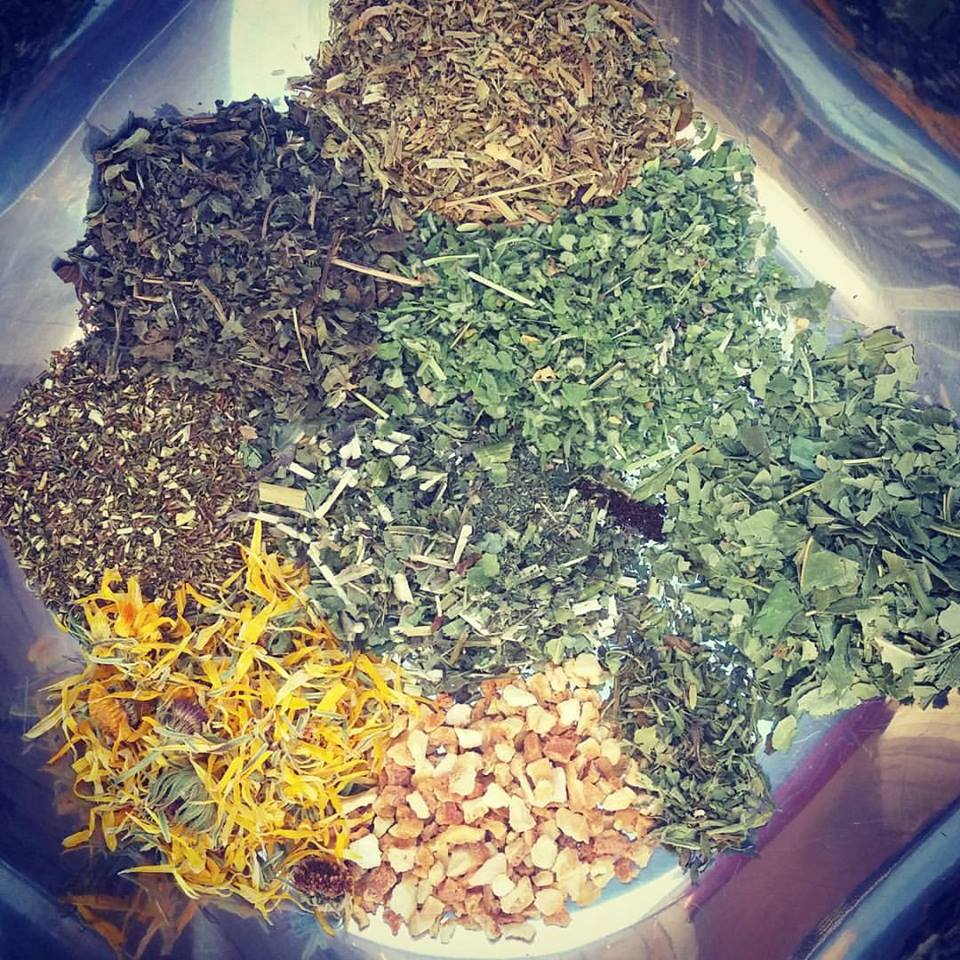 Herbal Infusion made from rooibos tea, plantain, calendula, chickweed, lemon balm, orange peel, marshmallow