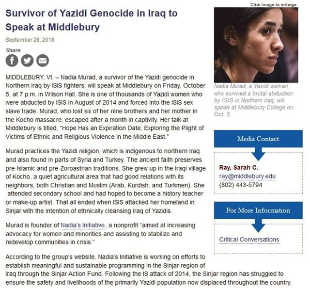 Exciting news: Nadia Murad to speak at Middlebury College (where many of our volunteers looked into during college apps)  in Vermont this coming week!⠀ ⠀ #TeensforYazidis