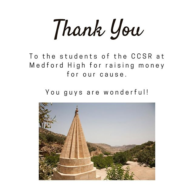 We're back again with another big thank you, and this time to the MHS CCSR! They're a great group of high schoolers, making a difference in almost every aspect of life, and we're grateful they have chosen us as one of their causes! If you're also interested in helping with #TeensforYazidis, feel free to contact us!⠀ ⠀ DM us on this account, or email us at teensforyazidis@gmail.com⠀ #TeensforYazidis