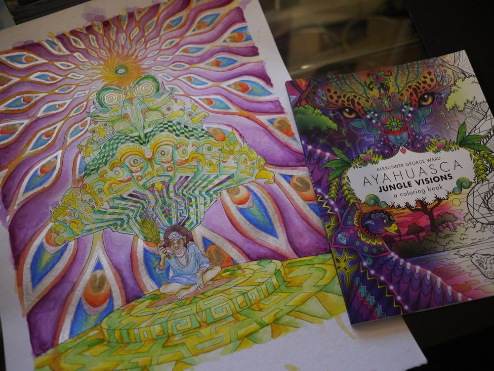 The original painting next to my coloring book.