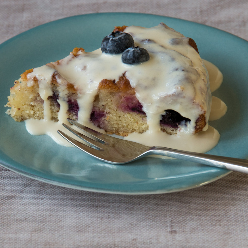 Lemon and blueberry cake, with white chocolate topping - vegan!