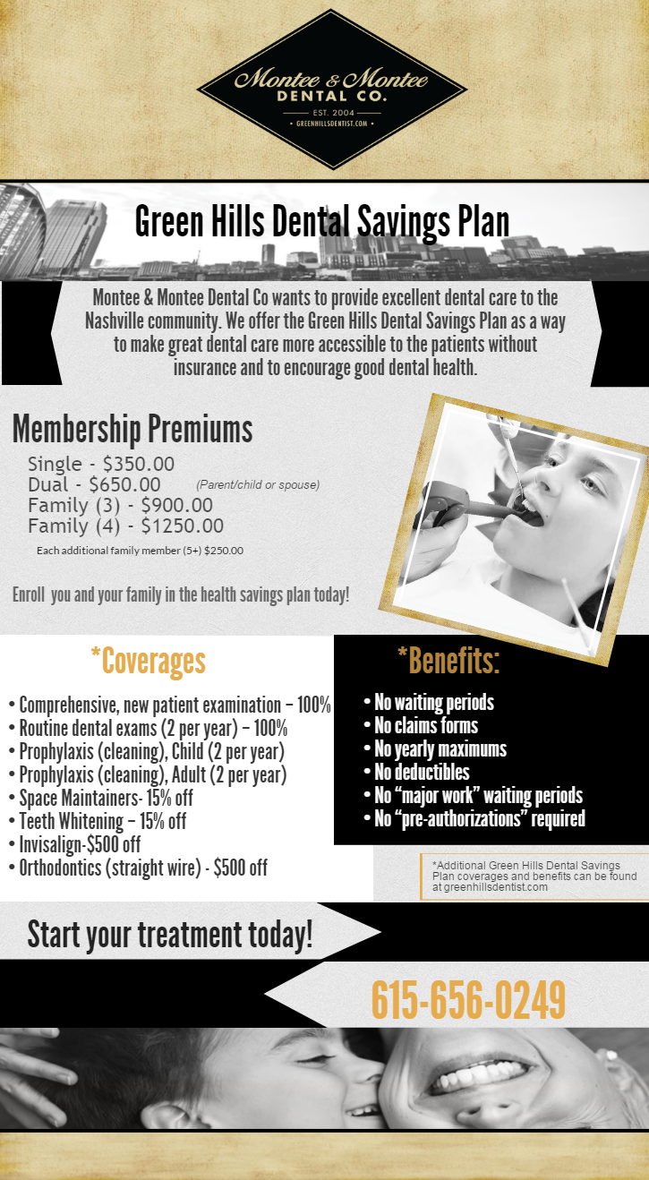 Green Hills Dental Savings Plan Montee Montee Dental Co Tenneesee