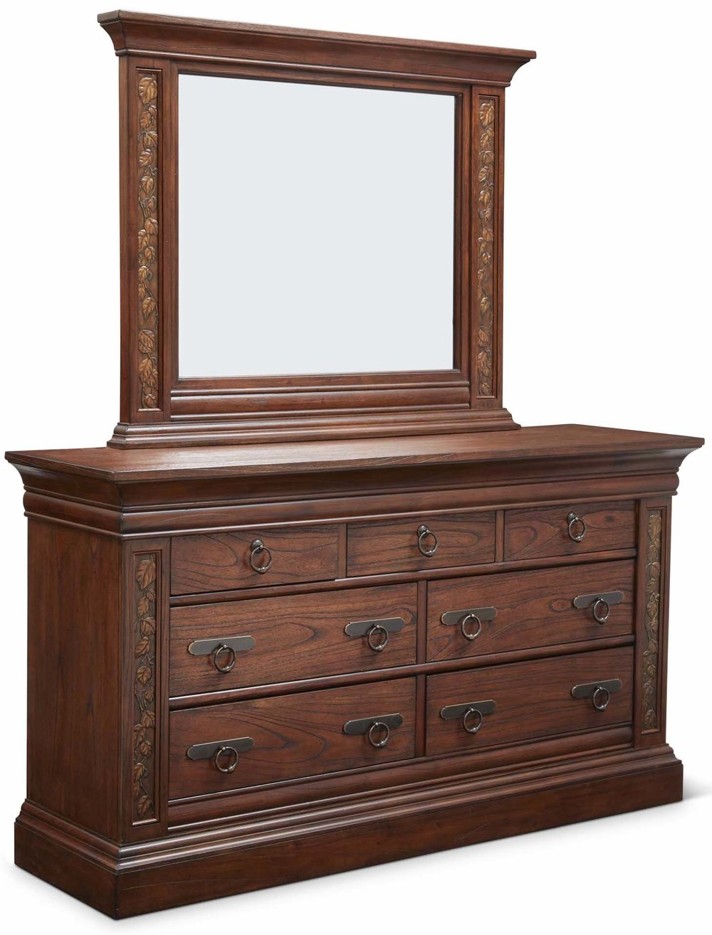 """Aspen Dresser  Item # DI-167105 (G / LB / DB) Dimensions: 68 x 19.5 x 37.5""""H   Aspen Mirror for Dresser  Item # DI-167106 ((G / LB / DB) Dimensions: 49.25 x 4 x 39.25""""H"""