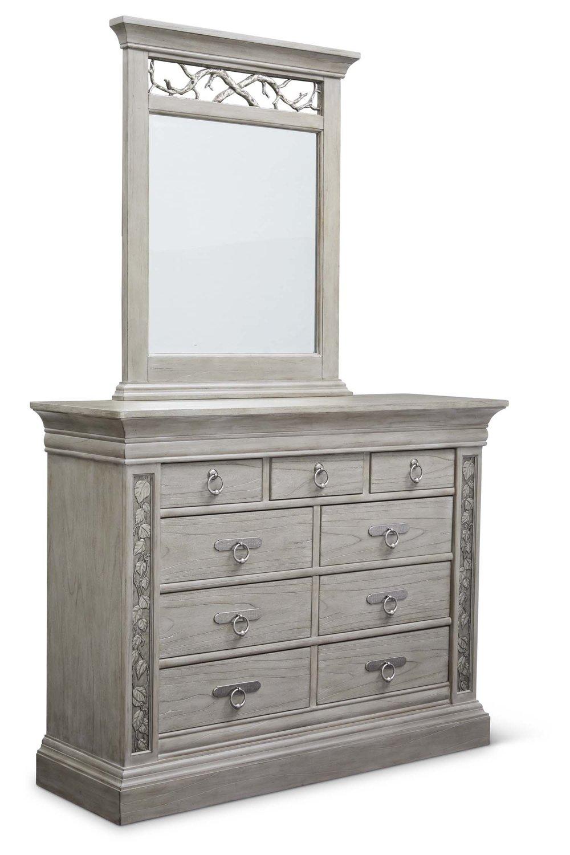 """Aspen Master Dresser  Item # DI-167107 Dimensions: 59 x 19.5 x 45.5""""H   Aspen Mirror for Master Dresser  Item # DI-167108 Dimensions: 36.75 x 3 x 45""""H"""