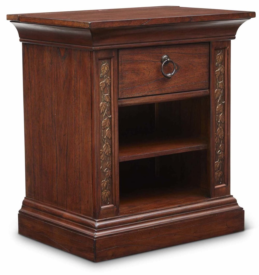 "Aspen Bedside Table  Item # DI-167307 (G / LB / DB) Dimensions: 26.5 x 18.5 x 29.5""H"