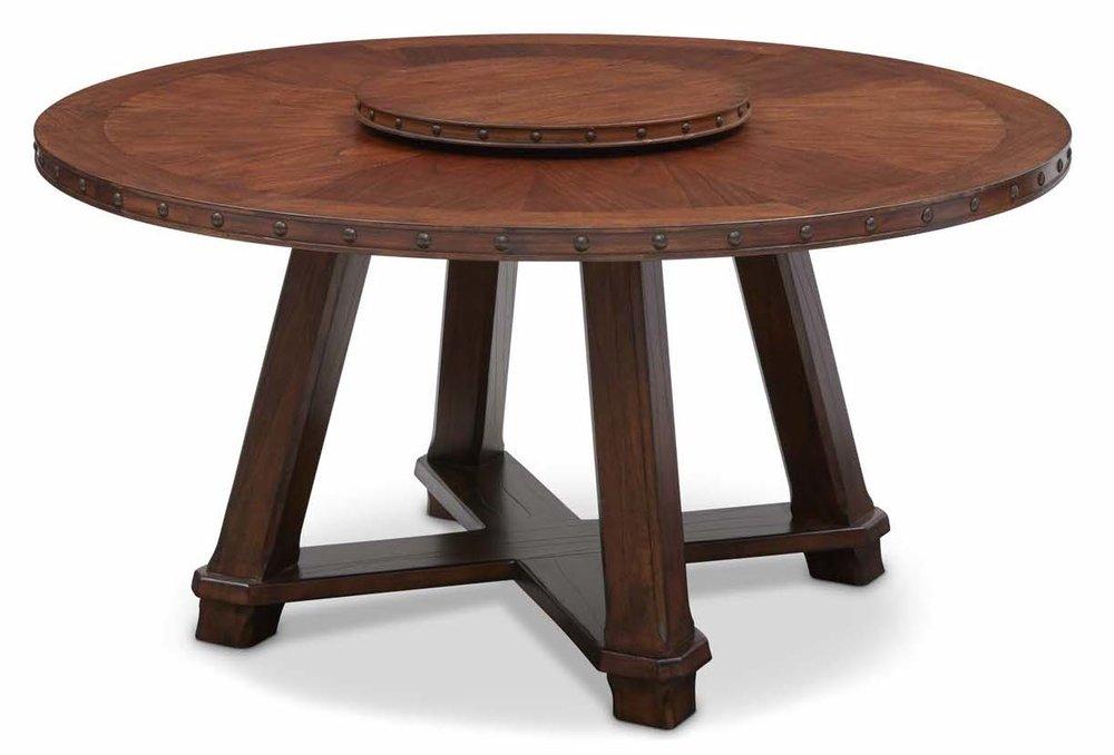 "Aspen Round Dining Table  Item #DI-167202 (G / LB / DB) Dimensions:60D x 31.75H   Aspen Lazy Susan Dark Brown  Item#DI-167202LS (G / LB / DB) Dimensions:23""D x 1.25""H"