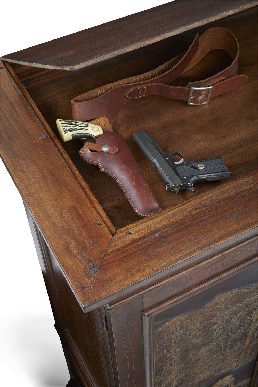 Detail of Aspen Armoire's   Hidden Gun Cabinet
