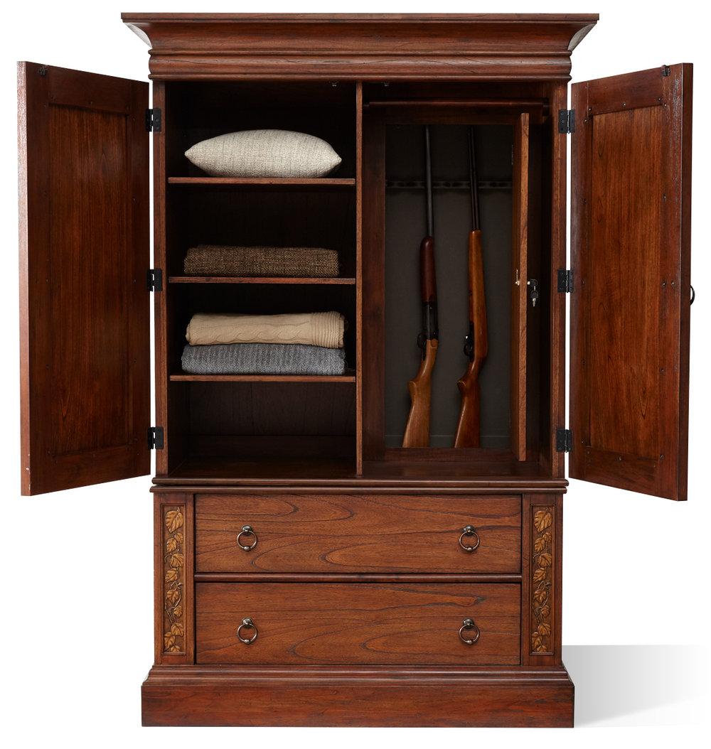 "Aspen Armoire Open with Hidden Gun Cabinet  Item # DI-167403 (G / LB / DB) Dimensions: 52 x 28.375 x 79-3/8""H"