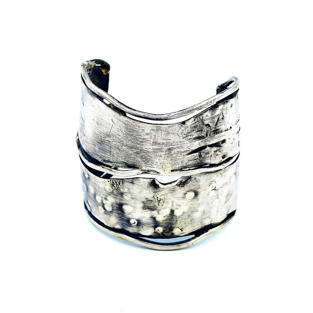 Sterling silver double cuff