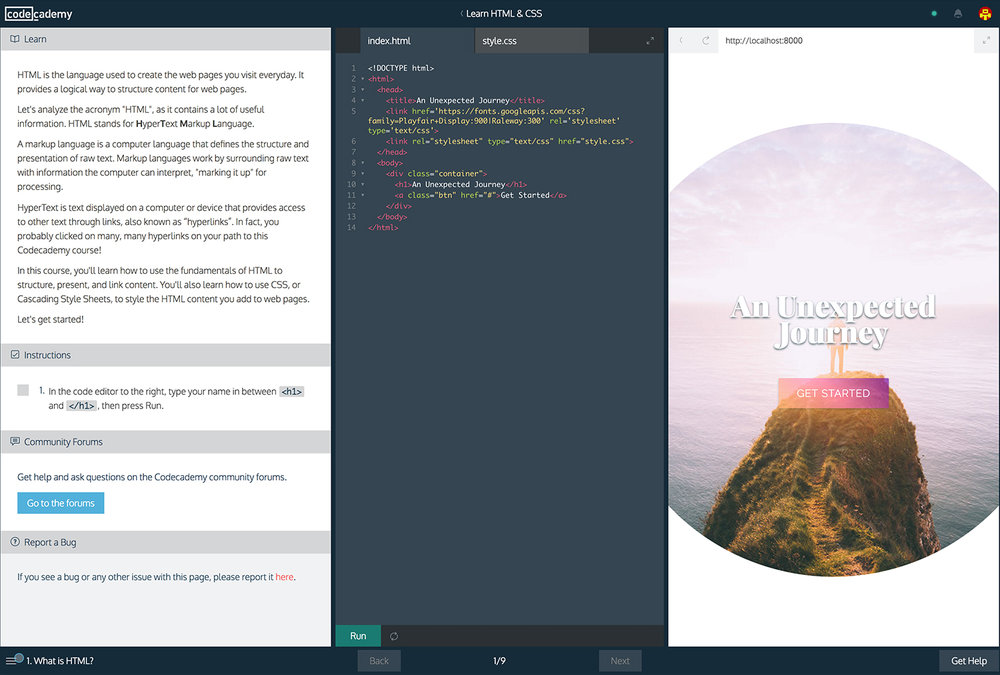 Codecademy interface design - learn to code