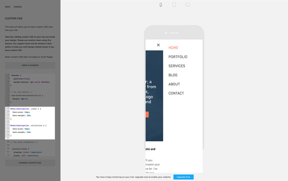 Mobile navigation font size with custom css code