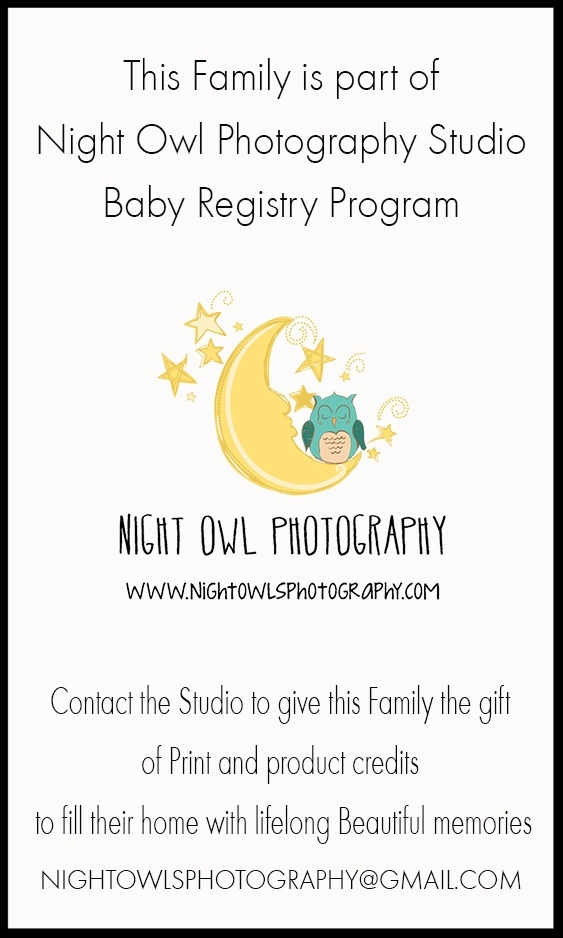 Baby Registry Card - If you book before your baby shower you will receive an email with these business sized cards you can print out and include in your baby shower invite registry lists.  Or display on your Facebook, email etc. Family and friends can purchase credits that you will get to use towards additional sessions, Prints, canvases or other products you'd like to purchase after your Newborn session.