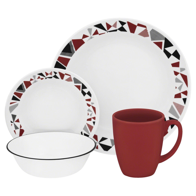 Livingware Mosaic Red 16-pc Dinnerware Set  sc 1 st  Designer Dinnerware & Livingware Mosaic Red 16-pc Dinnerware Set Review | Corelle Dinnerware