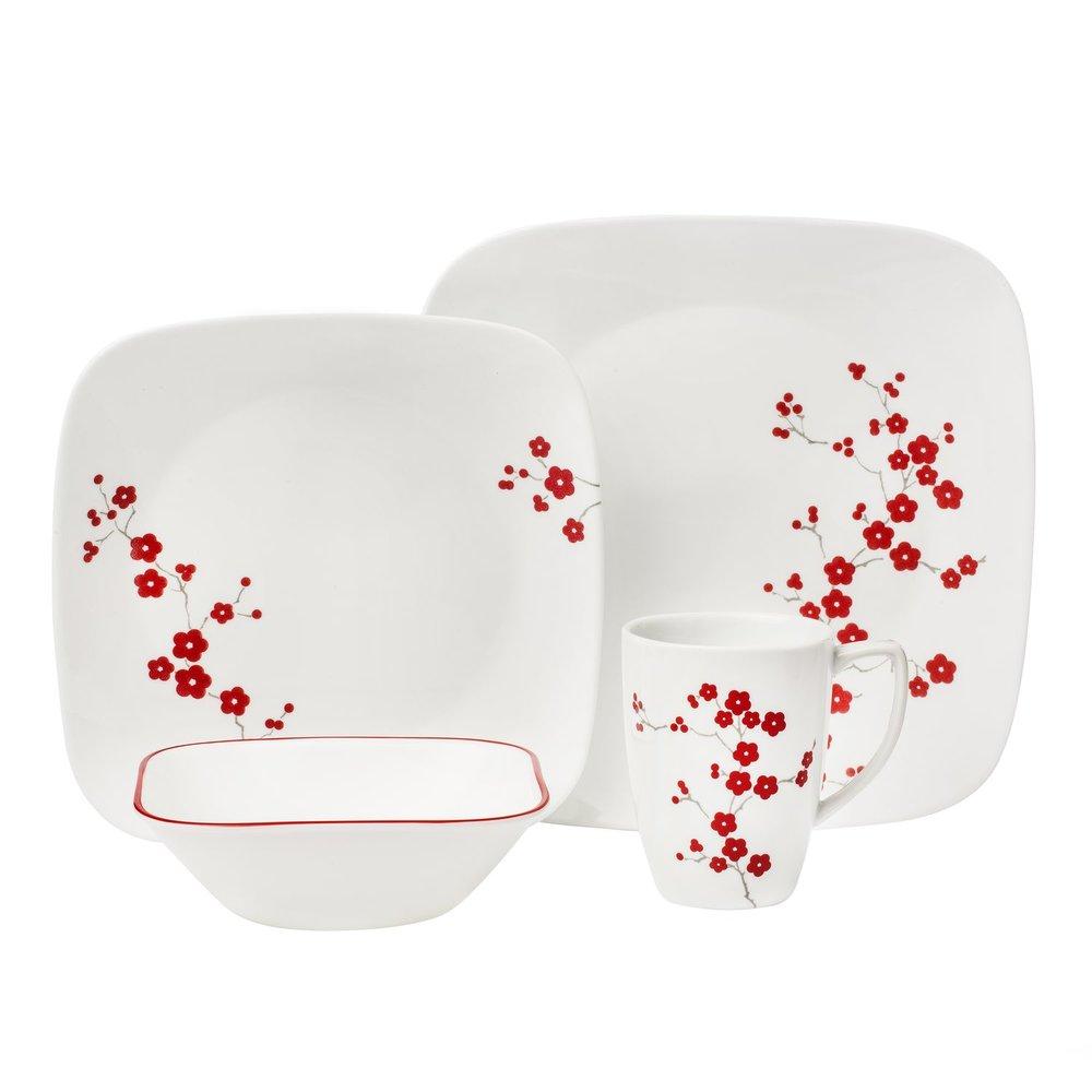 Dinnerware set  sc 1 st  Designer Dinnerware Sets & Square Hanami Garden 16-pc Dinnerware Set Review   Corelle Dinnerware