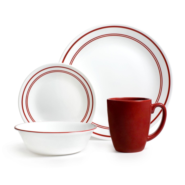 Livingware Classic Café Red 16-pc Dinnerware Set Review | Corelle ...