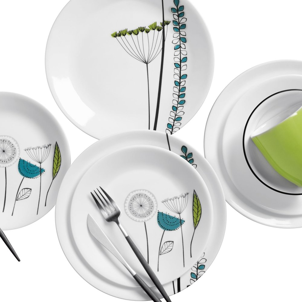 dinnerware set  sc 1 st  Designer Dinnerware & Vive Abstract Meadow 16-pc Dinnerware Set Review | Corelle Dinnerware
