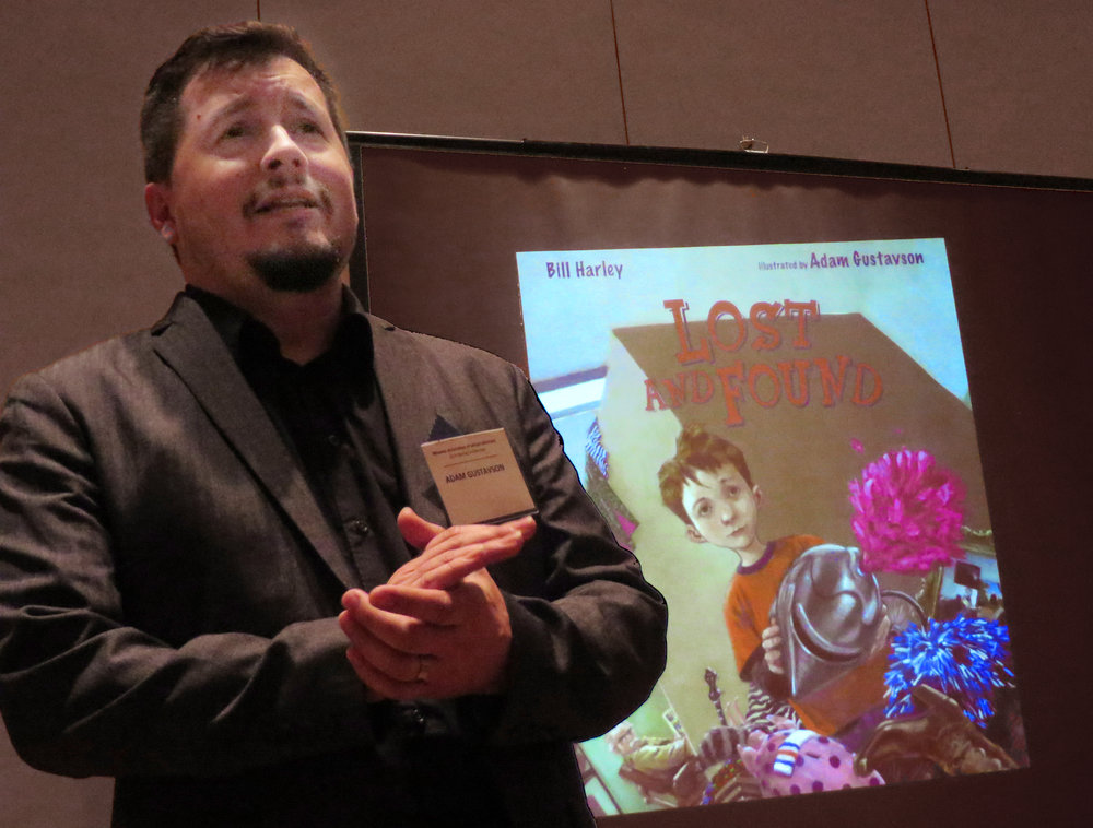 Speaking at the Young Readers Conference in Fort Hays, Kansas, 2014.