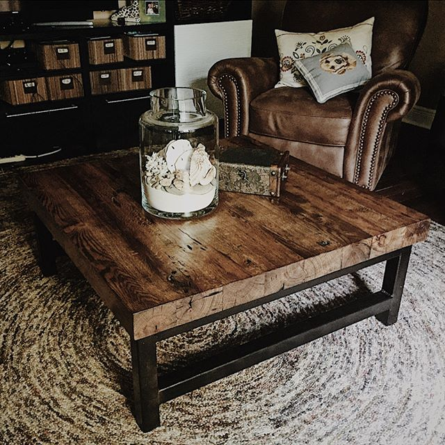 This 100+ year old white oak coffee table was the perfect fit for this living space! . . . . . . #springfieldmo #reclaimed #reclaimedwood #barnwood #coffeetable #woodandmetal #reclaimedtable #whiteoak #oak #modernfarmhouse #modernindustrial #industrialfurniture #reclaimedfurniture #handmade