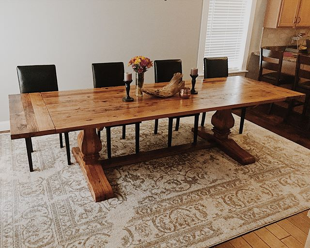 #harvesttable just in time for the #thanksgiving holidays! . . . . . . #stlouis #midwest #diningtable #reclaimedwood #table #kitchen #kitchendesign #trestletable #stlouismo #stlouisgram #stlouismissouri #furniture #reclaimedbarnwood #barnwood #fixerupper #fixerupperstyle