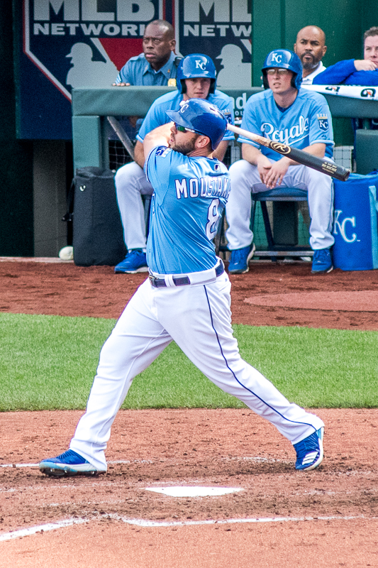 Like I mentioned earlier, I was lucky enough to see my favorite player bat twice in this game. Here is Mike Moustakas flying out to center field in the bottom of the fourth inning.