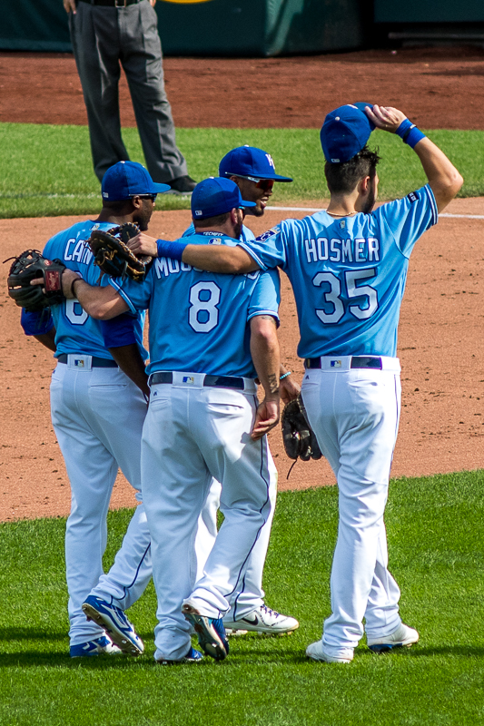 Hosmer, Moustakas, Cain, and Escobar walk off the field together.  One.  Last.  Time.