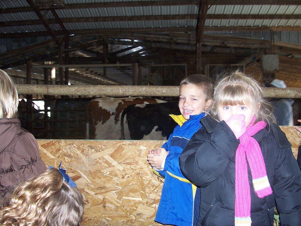 Wow... did that dairy farm stink! Talia on a first grade field trip to Shatto Dairy Farm.
