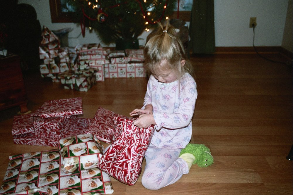 Opening Christmas presents. Talia is always so excited when it comes to presents!