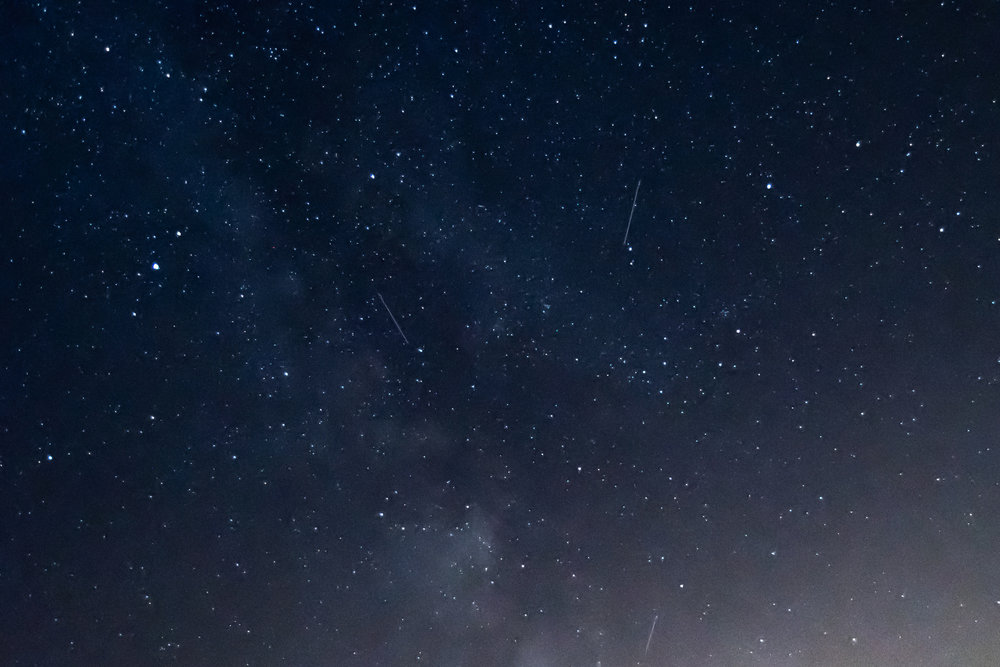 Here's an image from the August outing… with the Milky Way and three meteors.