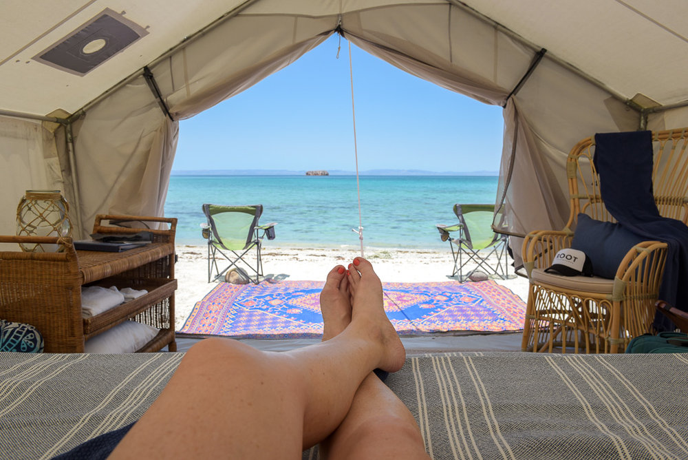 Enchanting view from your Glamping tent at Camp Cecil   Meals: B