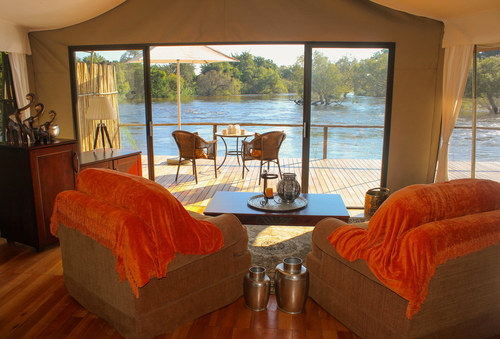 13. Imvelo Safari Lodges - Zambezi Sands - The lounge in the tented suites overlooks the Zambezi.jpg