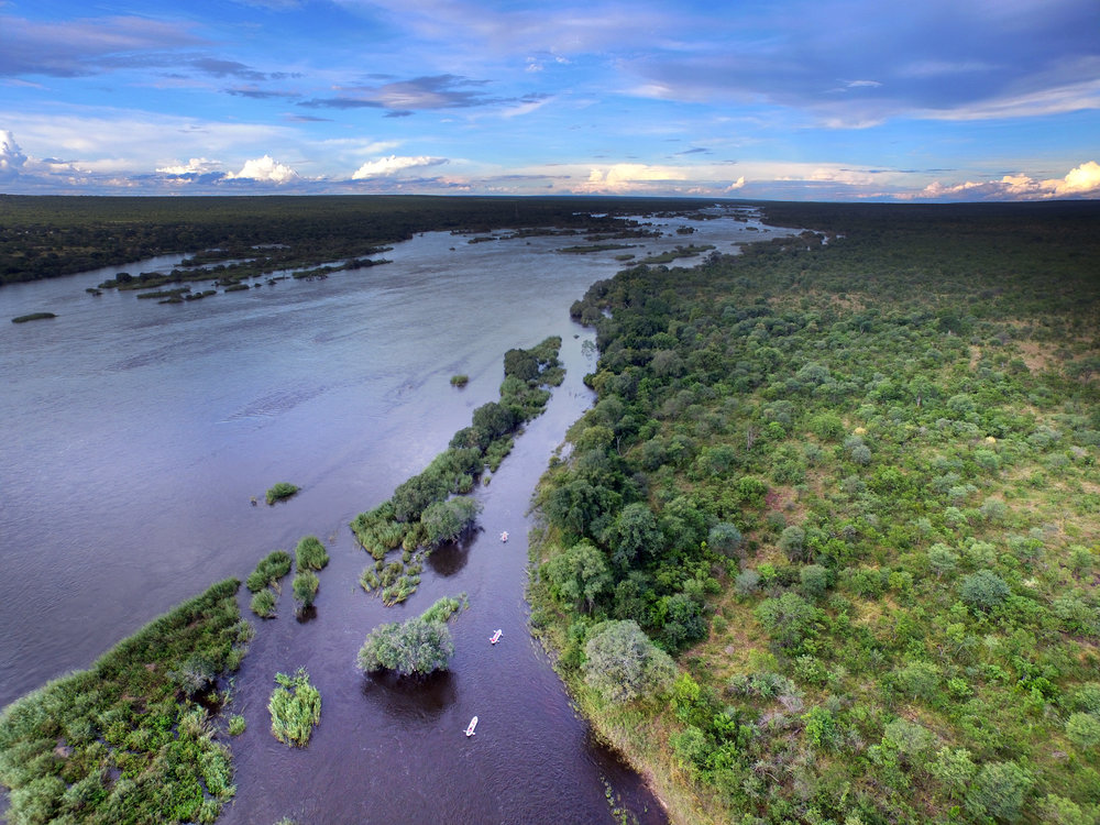32 - Imvelo Safari Lodges - Zambezi Sands  - Aerial view - Canoeing the Zambezi.JPG