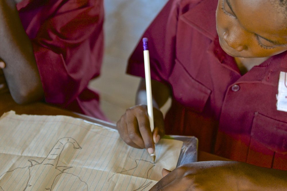 62. Imvelo Safari Lodges - Bomani Tented Lodge - Local school boy draws elephant.jpg