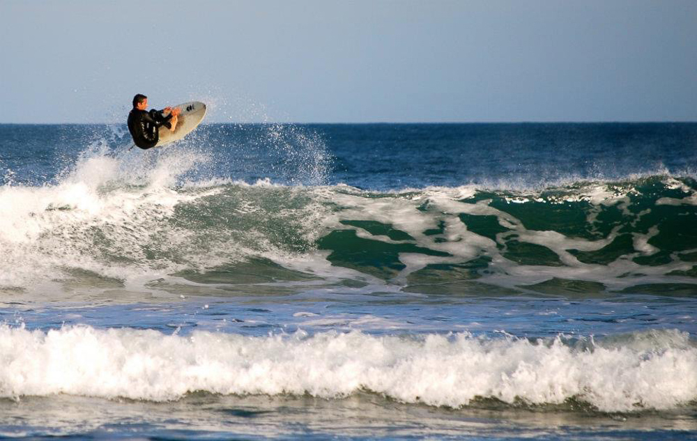 Surfing in Florianopolis, Brazil.