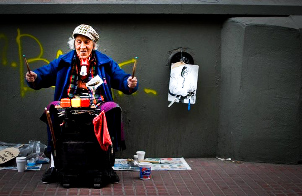 Street artist in the historic neighborhood of San Telmo in Buenos Aires, Argentina.