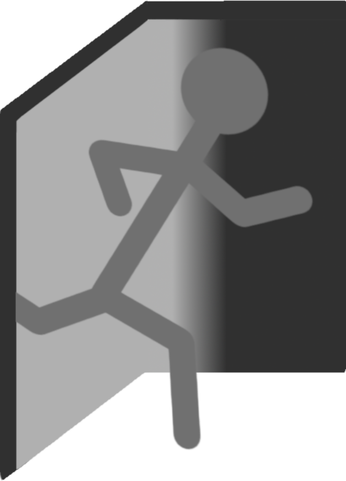 Man escaping door