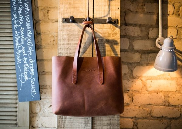 Veggie tanned eco leather the perfect tote bag -  Wolfie and Willow