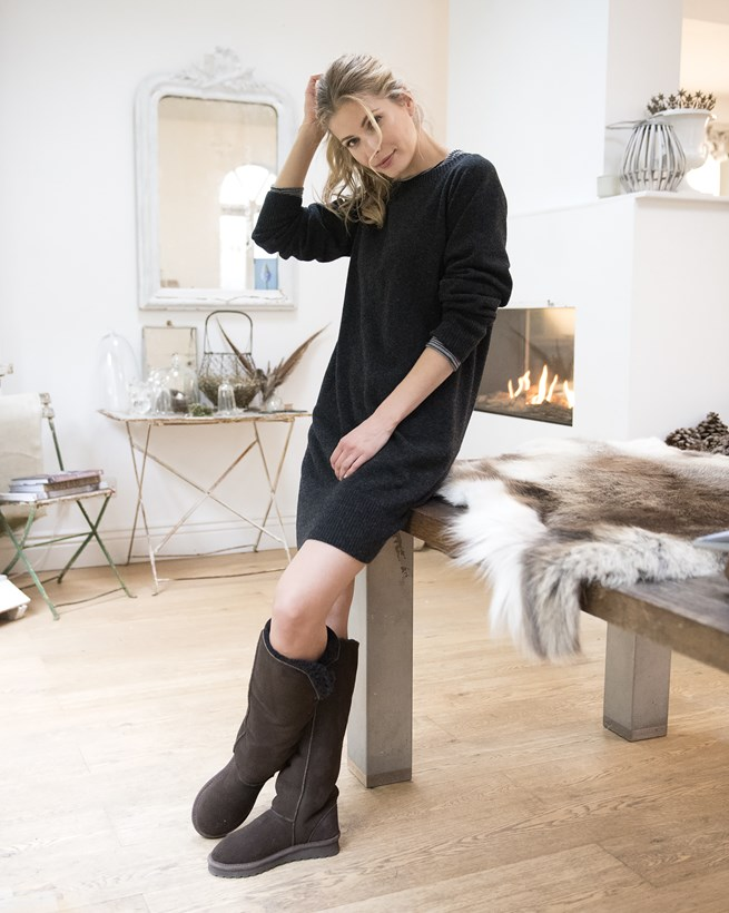 A cosy outfit for snuggling up at home - slouch dress from  Celtic and Co  ethically made in the UK.