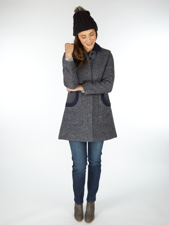 Timeless coat in wool and recycled polyester fair trade coat from  Ethical Superstore .