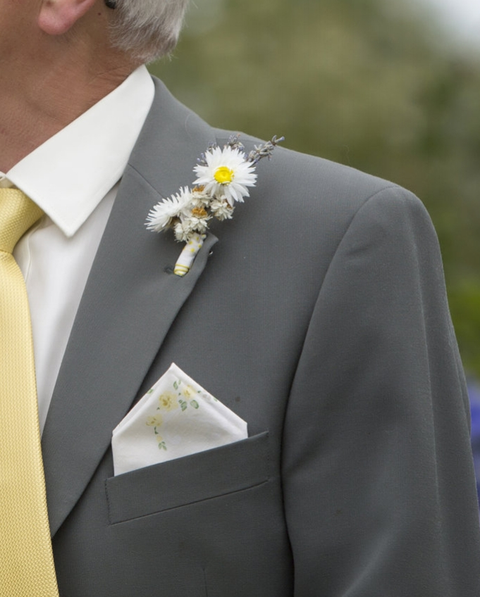 Dried flower button hole from real wedding