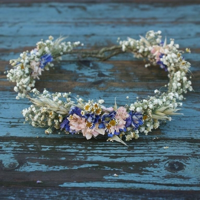 Dried flower crowns, button holes and more are available for delivery from the  Artisan dried flower company . You can see Hannah wearing one of their crowns on the  blog.
