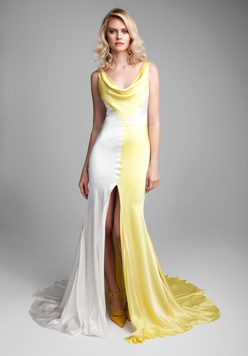 Get a slit in the skirt of the Esperia gown for a more sexy look