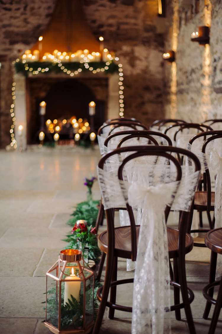 With it being darker earlier their is no better time of year to use candles and lanterns as your decor. Simple and effective like this on  Whimsical Wonderland Weddings.