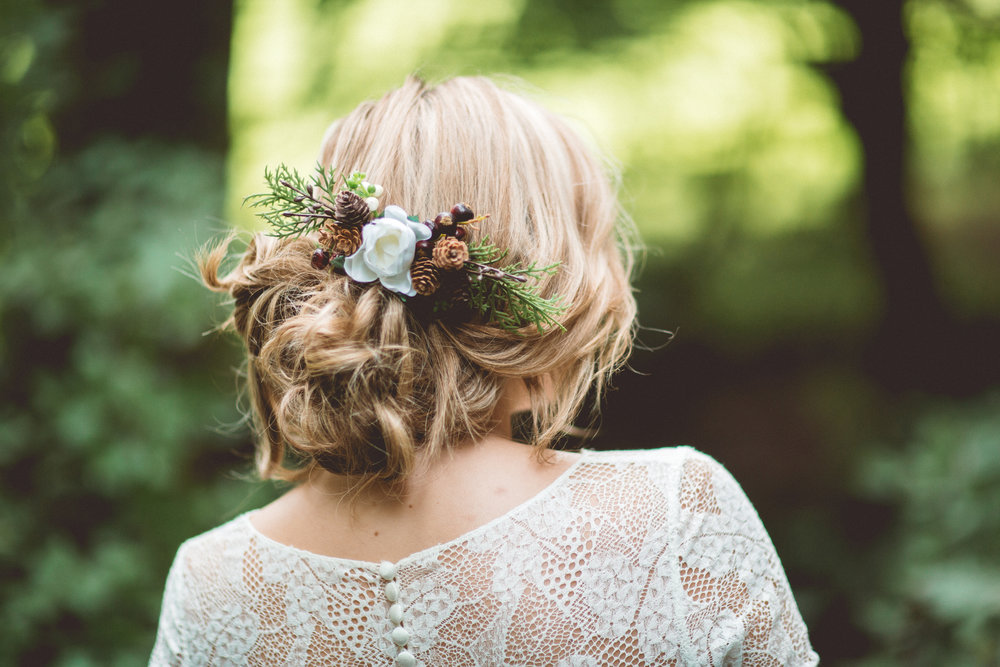 Gorgeous winter themed hair accessories help set the tone. This one from our  shoot  with  Gypsy Rose Vintage  is so festive.