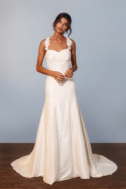 Celia Grace Raw silk trumpet wedding dress
