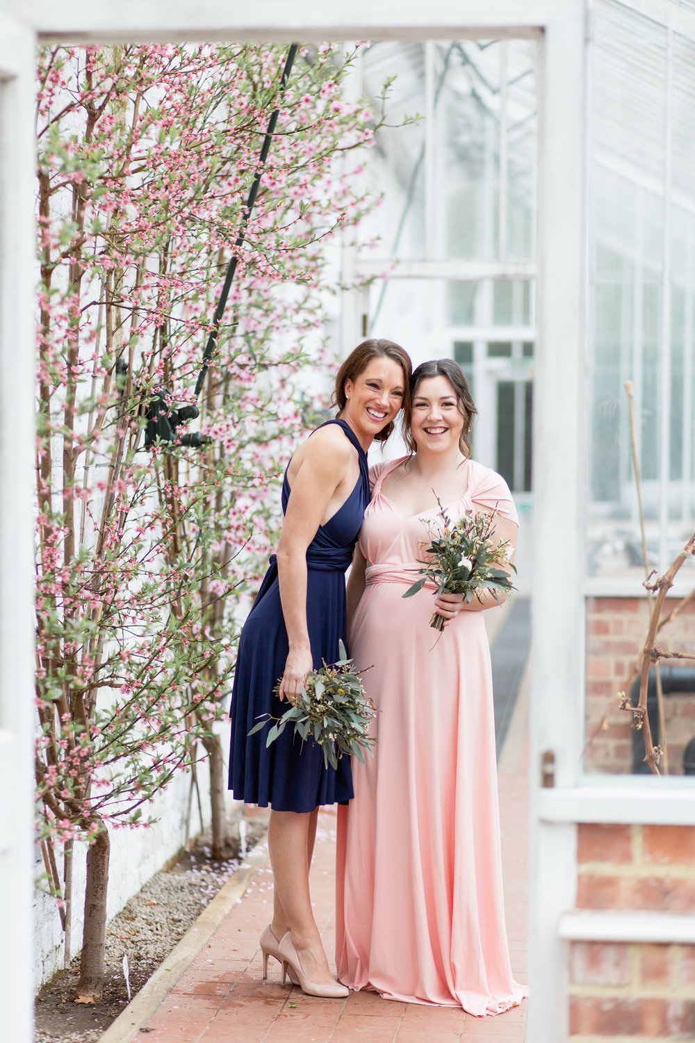 Eco Friendly Bridesmaids Dresses in soft pink and navy blue